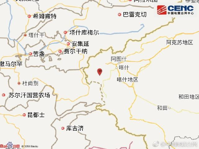 新疆克孜勒苏州阿克陶县发生5.2级地震