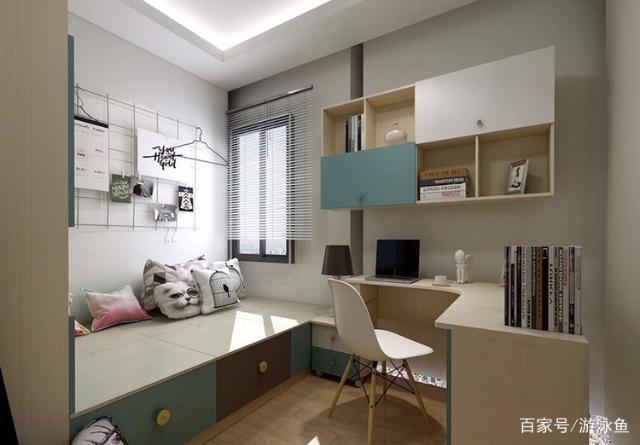 20款小卧室装修设计思路:书桌跟其他家具组合,变为多功能书桌柜