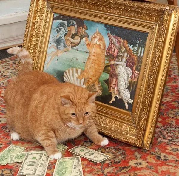 世界名画大多数人都看不懂,但多了个橘猫就不一样了