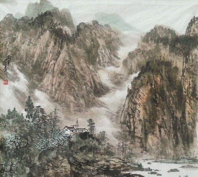 山水画该有的大气一点也能不少!大森的水墨!