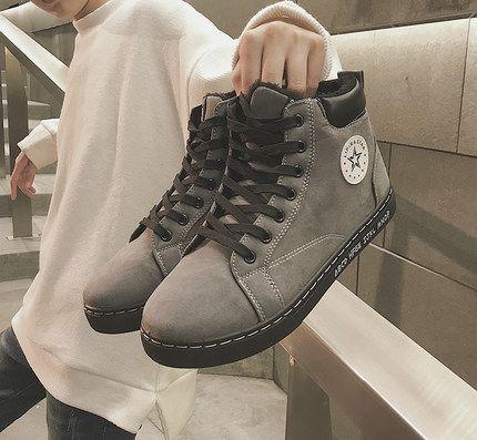 時尚新款高幫男士休閒鞋,防滑一腳蹬,冬季更安心