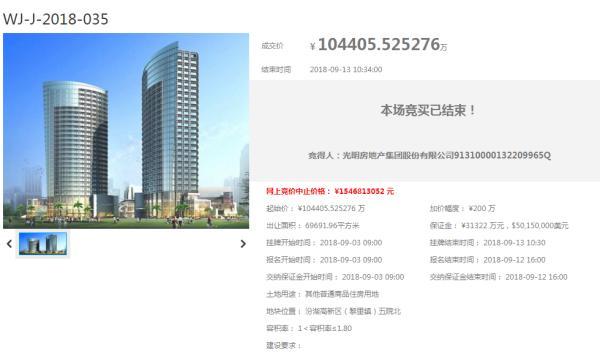 光明地产10.4亿竞得吴江汾湖五院北宅地 楼面价8323元/