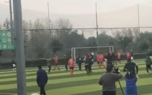 成都足球联赛现惊人一幕!球迷持铁棍冲进场殴打裁判 球员上前阻拦