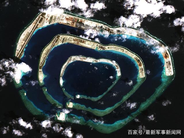 耀我国威:南沙美济岛全景高清卫星照,港池出现
