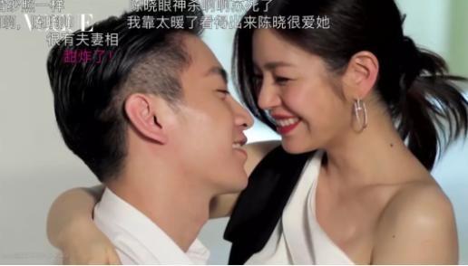 陈妍希陈晓重拍结婚照,背上蝴蝶骨清晰可见。