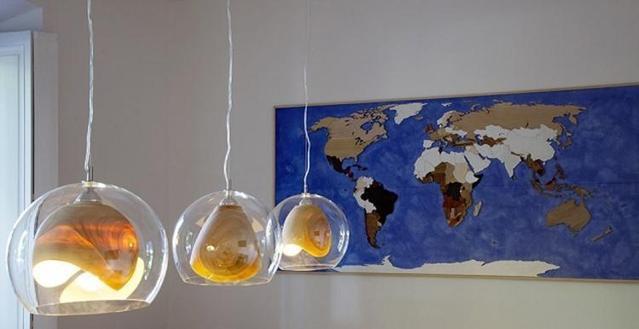Teca 原木玻璃混搭灯具
