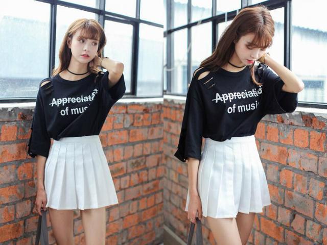 夏季,女生穿白色短裙,配这5种颜色的t恤,太好看了!